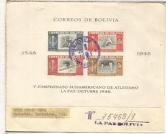 BOLIVIA 1948 CC CERTIFICADA A USA HOJITA SIN DENTAR SELLOS PELOTA VASCA BOXEO ESQUI TENIS TENNIS SKI BOXING CON LLEGADA - Bolivia