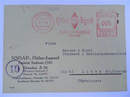 1944 DR Postkarte Dresden NSDAP, Hitler-Jugend Gebiet Sachsen Nach Liban (Protektorat), Kinderlandverschickung - Allemagne