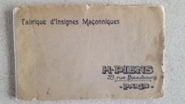 RARE FRANC MACONNERIE FABRIQUE D'INSIGNES MACONNIQUES H. PIENS A PARIS 32 PAGES - Geheimleer