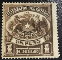 CILE - CHILE  Francobollo 1891 Telegrafos Del Estado 1 Peso NUOVO - Cile