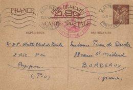 Entier Postal 90c Iris Perpignan Déesse Assise ...Coloniale - Marcophilie (Lettres)