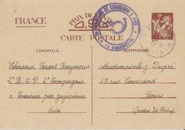 Entier Postal 90c Iris 2eme Bataillon De Chasseurs à Pied à JUJURIEUX - Marcophilie (Lettres)