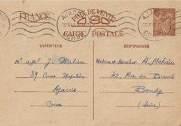 Entier Postal 90c Iris Corse Type 2 - Poststempel (Briefe)