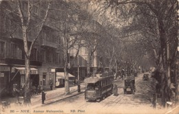 CPA NICE - Avenue Malausséna - Straßenverkehr - Auto, Bus, Tram