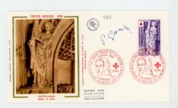 FRANCE - CROIX ROUGE - 1er JOUR DU 20/11/76 DE BOURG EN BRESSE - SIGNÉ GANDON  - N° Yt 1910 - FDC