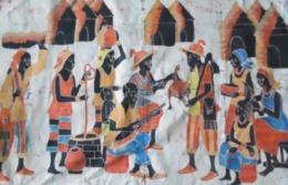 Batik Contemporain (1990), Bamako, Mali , Afrique De L'Ouest : 150 Cm X 101 Cm - Scène De Village - Tissu Coton épais - Art Africain