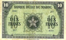 MOROCCO FRANCAICE 10 FRANCS MOTIF FRONT ARABIC BACK DATED 1-5-1943 P.25 VF READ DESCRIPTION!! - Morocco