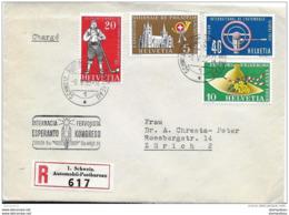 """76 - 72 - Enveloppe Recommandée Avec Oblit Spéciale """"Esperanto Kongreso Zürich 1955"""" - Marcophilie"""