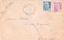 Martinique :- TRINITE DateurA6 En Bleu - Marcophilie (Lettres)