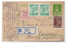 1949 YUGOSLAVIA, SLOVENIA, BLED TO BELGRADE, REGISTERED, EXPRESS MAIL, STATIONERY CARD, USED - Postal Stationery