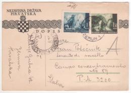 °°° 13906 - CROAZIA - ZEMUN(SERBIA) - TIMBRO DI CENSURA PER L'ESTERO - 1942 With Stamps °°° - Croatie