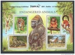 Irlande 1998 Bloc 31 Neuf ** Animaux, Guépard, Oryx, Singe, Tigre. Surchargé Pour L'expo Stampa 98 - Blocks & Sheetlets