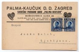 1926 YUGOSLAVIA, CROATIA, ZAGREB TO LJUBLJANA, PALMA-KAUCUK D.D. CORRESPONDENCE CARD, SHOES MAKERS - 1919-1929 Kingdom Of Serbs, Croats And Slovenes