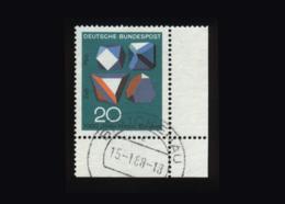 BRD 1968, Michel-Nr. 547, 1000 Jahre Harzer Bergbau, 20 Pf., Eckrand Rechts Unten, Gestempelt - Usados