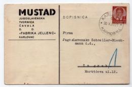 1938 YUGOSLAVIA, CROATIA, KARLOVAC TO ZAGREB, MUSTAD, METALWARE,CORRESPONDENCE CARD - 1919-1929 Kingdom Of Serbs, Croats And Slovenes