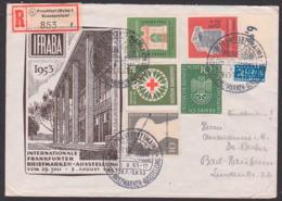IFABRA 1953, Deutsches Museum R-Brief Frankfurt Messepostamt Henri Dunant BRD 171/2 Portogenau, SoSt. Ausstellung - Cartas