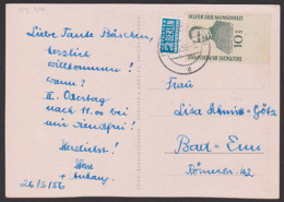 Adolph Kolping 10+5 Pfg. BRD 223 Mit 2 Pfg. Notopfer BERLIN Steuermarke, Unteres Randstück 26.3.56 - [7] République Fédérale