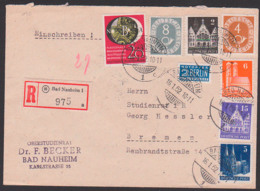 Bad Nauheim Gitterstempel Mit 8 Pfg. Ziffer 16.1.52 Mit 20 Pfg. Wuppertal BRD 142, R-Brief  Marken Die BiZ, Steuermarke - Lettere