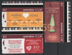 Roma, 2016-17, Metrebus, Pubblicità E Propaganda, Vueling, Acqua Minerale Ferrarelle, Lotta Alla Leucemia, 3 Biglietti - Metropolitana