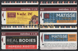 Roma, 2014-17, Metrebus, Musei E Mostre, Museo Delle Cere, Matisse, Real Bodies, 4 Biglietti - Metro