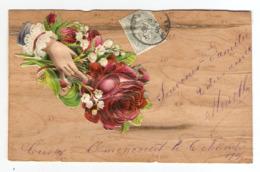 CPA 1905 - CHROMO COLLEE Sur PLACAGE BOIS - MAIN FLEUR ROSE MUGUET - RIBAUCOURT - Cartoline