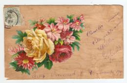 CPA 1905 - CHROMO COLLEE Sur PLACAGE BOIS - FLEUR ROSE - RIBAUCOURT - Cartoline