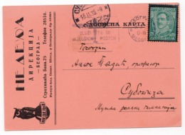 1935 YUGOSLAVIA, SERBIA, BELGRADE TO SUBOTICA, NEDELJA, PUBLICIST, OWL, CORRESPONDENCE CARD - Covers & Documents
