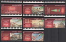 Roma, 2016, Metrebus, Pubblicità, Serie Completa Acqua Ferrarelle E Roma, 8 Biglietti - Europa