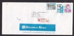 Indonesia: Registered Cover To Netherlands, 1994, 3 Stamps, Computer, Running, R-label Jakartapusat (minor Damage) - Indonesië