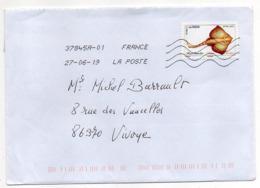 """2019-- Tp Adhésif  """" Poisson  Raie Bouclée  """"  Seul Sur Lettre- - Marcophilie (Lettres)"""