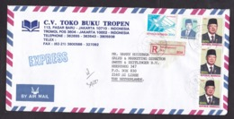 Indonesia: Registered Express Cover To Netherlands, 1995, 5 Stamps, Airplane, R-label Jakartapusat (ugly Glue) - Indonesië