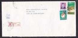 Indonesia: Registered Cover To Netherlands, 1987, 3 Stamps, Sugar Cane, Food, Peace Globe, R-label Padang (minor Damage) - Indonesië