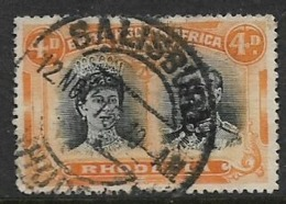 Southern Rhodesia / B.S.A.Co.1910, Doiuble Head,, 4d, Purple & Orange,  Perf 14, Used - Rhodésie Du Sud (...-1964)