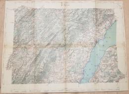 Carte Sur Tissu:  A Cheval Entre La France Et La Suisse - St-Claude - Les Rousses -Nyon - Versoix - Lac  (~ 45 X 33cm ) - Topographical Maps