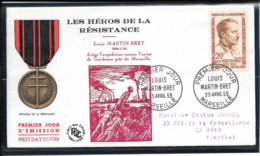 FDC 1959 - 1201  Héros De La Résistance(III): Louis-Martin BRET - FDC