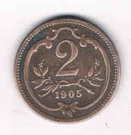 2 HELLER 1905  OOSTENRIJK /6493// - Autriche