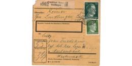 Allemagne  - Colis Postal  - Départ Frankfurt ( Main ) - Sindlingen  - 15-12-43  - Coin Abimé - Allemagne