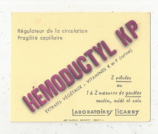 Buvard , Laboratoires LICARDY ,  HEMODUCTYL KP ,régulateur De La Circulation, Fragilité Capillaire,frais Fr 1.45 E - Drogheria