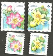 Sc. #3088-91 Lotus Flowers Booklet And Coil Pairs 2018 K049 - 1952-.... Règne D'Elizabeth II