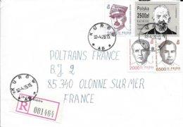 POLOGNE   - LETTRE RECOMMANDEE  KUROW -  POUR LA FRANCE - ARRIVEE VENDEE CACHET RECETTE R A9   -  1992 - 1944-.... Republik