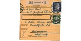 Allemagne  - Colis Postal  - Départ Darmstadt -  11-3-43 - Allemagne