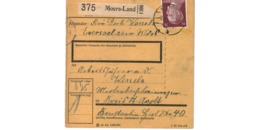 Allemagne  - Colis Postal  - Départ Moers - Land - Allemagne