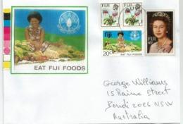 EAT FIJI FOODS ! Belle Lettre FAO FIDJI,  Sent To Australia. Two Pictures Front And Back Envelope - Fidji (1970-...)