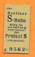 BRD - Pappfahrkarte (Deutsche Reichsbahn) . Berliner S-BahnPreistst 5 - Railway