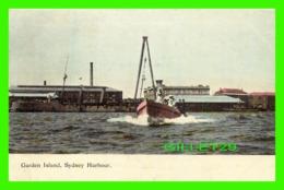 SYDNEY, AUSTRALIE - GARDEN ISLAND - ANIMATED WITH A MARINE BOAT - ROYAL AUSTRALIAN NAVAL DEPOT -  HARDING & BILLING'S - - Sydney