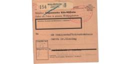 Allemagne  - Colis Postal  - Départ Köln - Mülheim  - Troponwerke - Allemagne