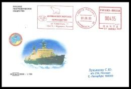 "RUSSIA 2000 COVER Used NUCLEAR ICEBREAKER ""ROSSIYA"" BRISE-GLACE ATOM NORTH POLE EXPEDITION METER STAMP POLAR BEAR Mailed - Navi Polari E Rompighiaccio"