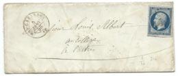 N°14 BLEU NAPOLEON SUR LETTRE / MAS CABARDES POUR CASTRES / 5 JANV 1856 - Marcophilie (Lettres)