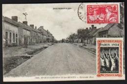MONTCOMBROUX LES MINES (590 Habitants) Belle Vue éclairée Dans La Grande Rue. Carte Obl. En 1924 Avec Un Timbre......... - Francia