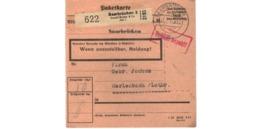 Allemagne  - Colis Postal  - Départ Saarbrücken  - Arnold Becker & Co   -  4-2-43 - Allemagne